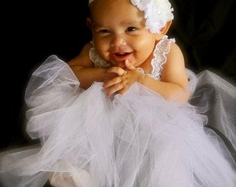 White Headband / White Christening Headband / White Baptism Headband / White Flower Girl Headband