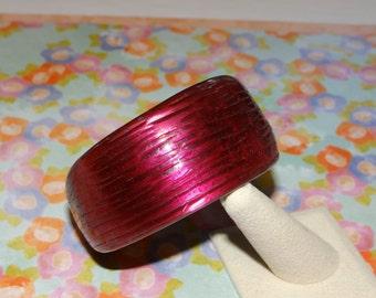 Bangle Bracelet Ribbed Bold Chunky - Asymmetrical bangle bracelet - Cranberry - Maroon