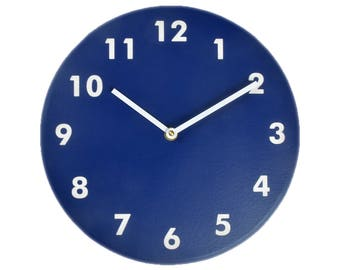 Navy blue wall clock. Modern wall clock. Numbers clock. Wood wall clock. Solid color on MDF, engraved numbers.  CL4015