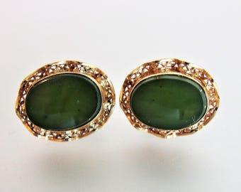 Vintage Jade Oval Gemstone Earrings Jewelry   12K Golf Filled Jade Earrings   Filigree Screw Back Earrings   Vintage Jade Jewellery