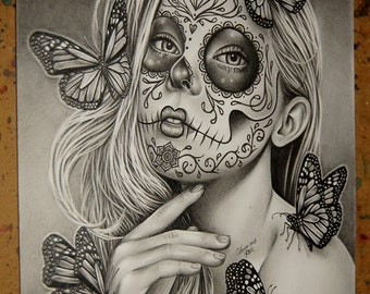 ORIGINAL Drawing Mariposa 8x10 in Pencil Drawing by Carissa Rose Day of the Dead Sugar Skull Dia De Los Muertos Art