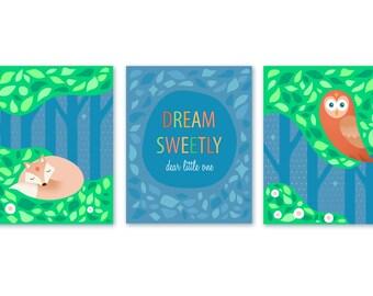 Printable Nursery Wall Art Set - Instant Download Woodland Nursery Print - Dream Sweetly Fox and Owl Nursery Decor