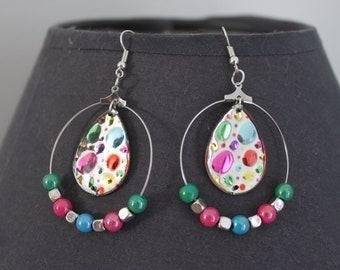 jewelry, drop earrings multicolor