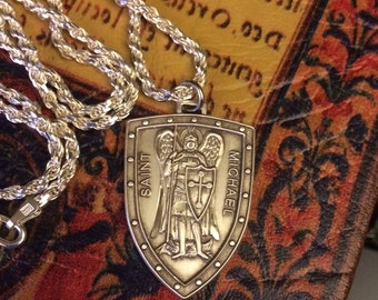 Sterling Silver St Michael Medal Badge Patron Saint Police Officers Firefighters Marines Necklace Pendant w/Heavy Sterling Rope Chain