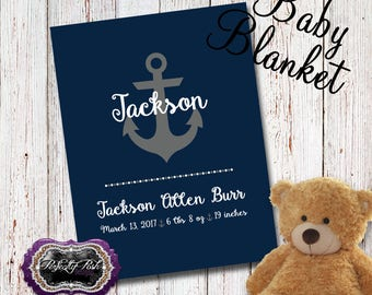 Personalized Nautical Anchor Baby Blanket Monogrammed with Name Baby Gift perfect for Swaddle and Receiving Blanket Inspired by Subway Art