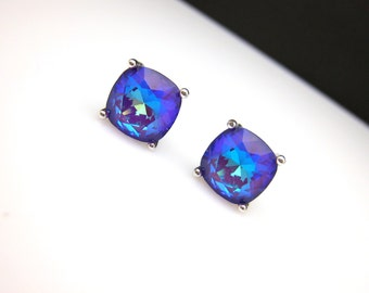 christmas prom bridal wedding bridesmaid gift Swarovski candy ultra purple violet square cushion cut foiled rhinestone silver stud earrings