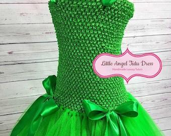 Emerald Green Fairy Tutu Dress with Green Satin Ribbon. St Patrick's Day Inspired Dress. Flower Garden Dress. Handmade Fancy Dress Costume