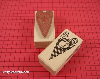 Heart Face Stamp / Invoke Arts Collage Rubber Stamps
