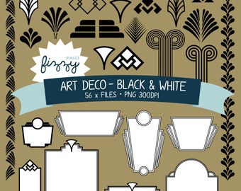 PNG: 56 x Art Deco 1920s 1930s Black and White Clipart - Digital files PNG 300dpi with Instant Download. CA0027