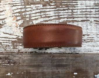 Custom Leather Cuff-Create Your Own-Rustic Brown Leather-Word Cuff