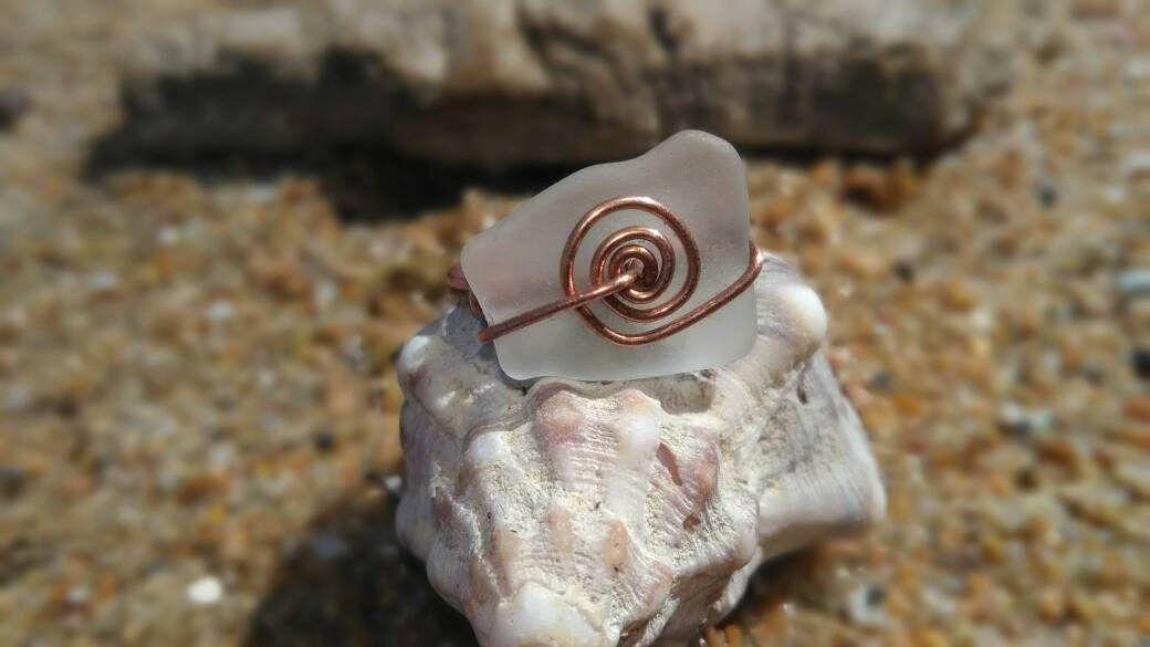 White Natural Italian Sea Glass Spiral Ring with real Copper Wire ...