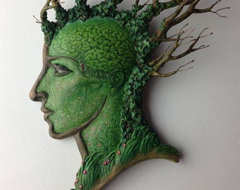 Tread mindfully in the forest of thoughts- Unique original wall-hanging by Virginia Lee