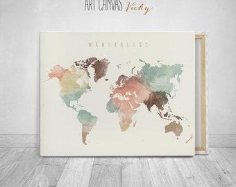 Wanderlust World map canvas art print, ArtCanvasVicky