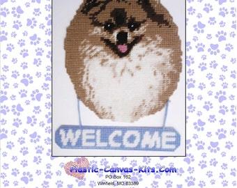 Pomeranian Dog Welcome Sign-Plastic Canvas Pattern-PDF Download
