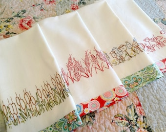 Redwork Hand Embroidery Kitchen Towels PDF Pattern Set Instant Download