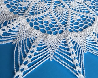 Round  crochet doily  white cotton.  Gift for her.