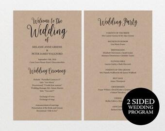 Printable Wedding Program, Rustic Wedding Program, Editable Program, DIY Wedding Program, Program Template, Ceremony Program, MM02-2