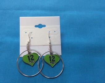Seattle Sea hawks Hoop Dangle  Earring