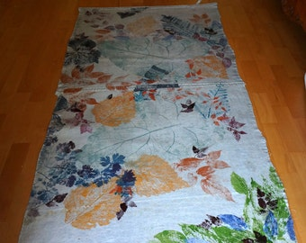 Canvas Floor Cloth // Botanical Natural Forest Leaf Prints//Hand Painted//Home Decor//Nature//Upcycle//Outdoors//Wild Flowers//Floor Cloth