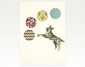 Dog Art Print, Nursery Art, Kids Wall Decor - Ball Games