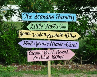 Rustic Family Name Directional Destination Wood Sign, Mother's Day, Wooden Arrow Signage, Garden Yard Decor, Family Gift Idea for New Home