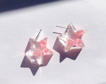 Pink Bead Star Resin Earrings