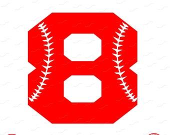 Digital Cut File, Monogram Baseball Numbers, Number 8, 8, Softball, Vinyl Cutting File, Baseball, SVG, DXF, EPS, Silhouette, Cricut