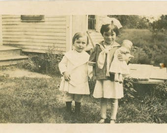 RESEREVED for Sophie vintage photo 1920 Little Boy Little Girl Holds Doll Sailor top