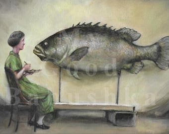 Big Fish, Original Painting, Woman, Artist, Portrait, Painter, Queensland Groper, Museum Display, Natural History,  Ethel King, Taxidermy,