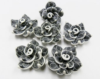 10 Fimo Polymer Clay Black White Flower Rose Fimo Beads 25mm