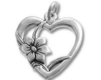 Heart with Flower Charm - Sterling Silver // Large Sterling Silver Heart Charm // Silver Heart // Heart Charm