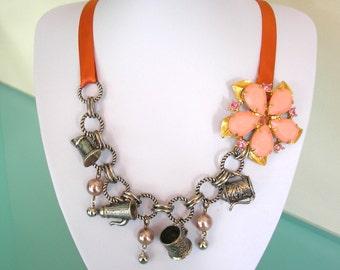 Assemblage Necklace, Statement Necklace, Upcycled Vintage Jewelry, Rustic Jewelry, Fall Barn Wedding, Orange, Bohemian Jewelry, BoHo Jewelry