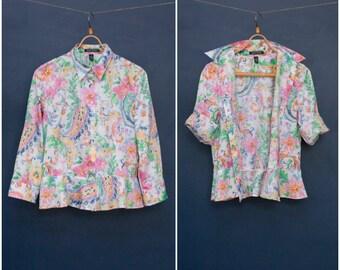 Vintage Ralph Lauren Blouse Colorful Peplum Blouse Womens Medium Floral Button Up White Rainbow Cotton Shirt Patterned Pastel Top Size M