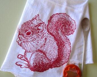 Tea Towel - Screen Printed Flour Sack Towel - Eco Friendly Cotton - Absorbent - Woodland Squirrel - Kitchen Towel - Classic Flour Sack