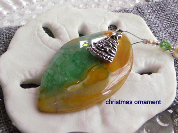 Christmas gemstone ornament - tree charm - holiday decor ideas - druzy green yellow agate pendant - mitten - window ornament - Lizporiginals