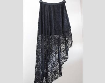 Lace asymmetrical wrap skirt, draped, pleated, sexy summer skirt, comfortable, gothic, goth, size Small S