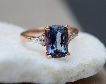 Teal tanzanite engagement ring. Peacock blue tanzanite 3.4ct cushion diamond ring 14k rose gold. Campari Engagement ring by Eidelprecious.