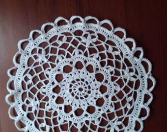 Crochet round doily White doily Lace white doily Crochet tablecloth White cotton doily Home decor Handmade doily Table centrepiece