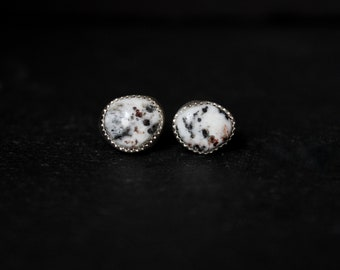 READY TO SHIP - White Buffalo Turquoise Sterling Silver Earrings #012 | December Birthstone | Studs Post | Gugma Women's Minimalist Jewelry