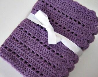 Crochet baby blanket purple girl blanket photo prop