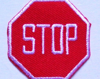 Embroidered Iron-On Applique Stop Sign, 1+1/2 inch