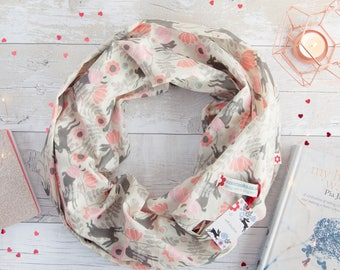 Wild Hare in Pink design 100% cotton scarf/ hare/ scarf/ valentines/gifts/hares/rabbits/scarves