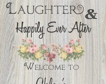 Bridal shower sign - wood background