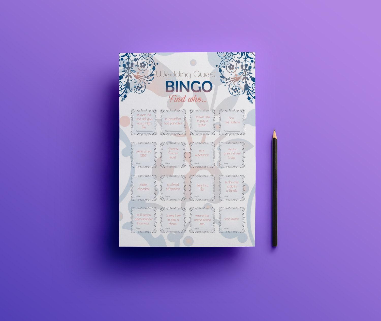 Printable Wedding Bingo Wedding Guest Games Reception Games