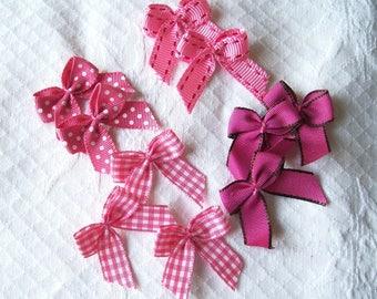 10 bows pink and fuchsia matching gingham, polka dots, plain - 29 x 35 mm