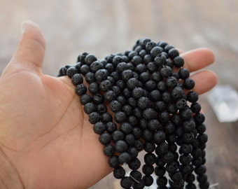 "8mm Natural Black Lava Beads, 16"" strand, 48 Lava Beads, Perfect for oil infusing and Jewelry Making / Gemstones, Yoga Jewelry, Supplies"