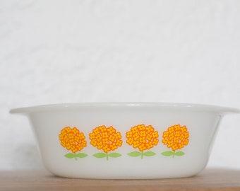Glassbake Orange and Yellow Flower Casserole Dish