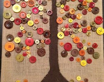 Button art-Fall Tree