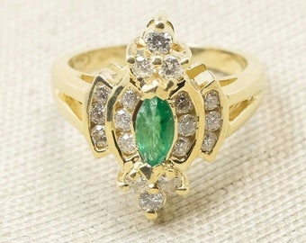 Retro Colorful 14K Yellow Gold 1.05ctw Marquise Emerald Gemstone & Diamond Cluster Elongated Cocktail Ring Size 6.5 FREE SHIPPING! 2017-5811
