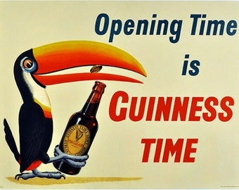 """opening-time-is-Guinness-time-vintage-beer-poster,  8 x 10"""" premium poster paper, man cave rec room"""